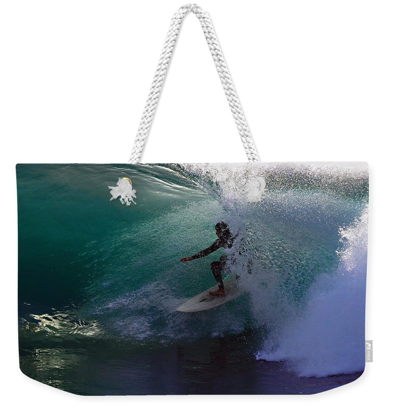 Surf Weekender Tote Bag featuring the photograph Tunnel Exit by Joe Schofield