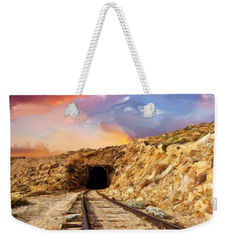 Tunnel Weekender Tote Bag featuring the painting Tunnel Vision by Dominic Piperata