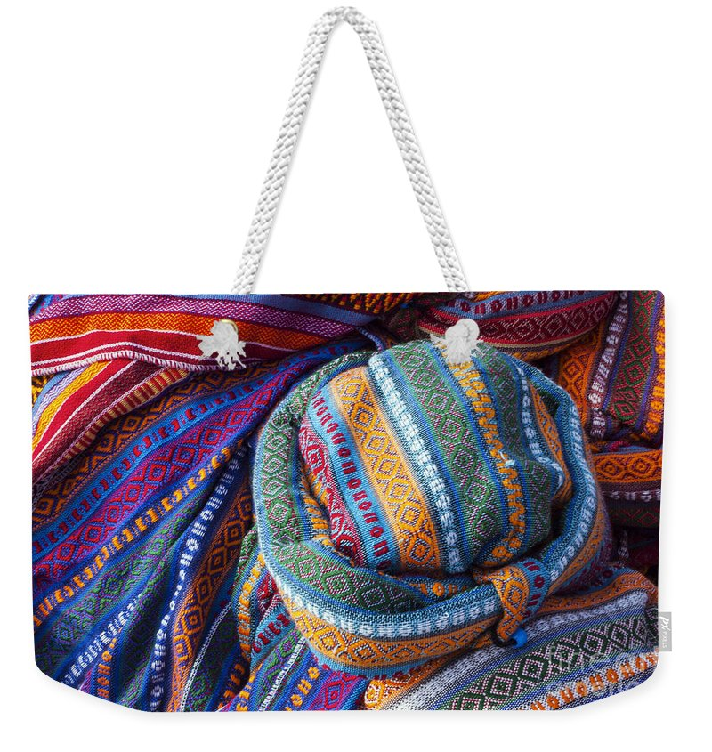 Derinkuyu Turkey Cappadocia Anatolia Cap Caps Hat Hats Scarf Scarfs Wool Woolen Woven Store Stores Shop Shops Still Life Market Markets Weekender Tote Bag featuring the photograph Turkish Cap by Bob Phillips