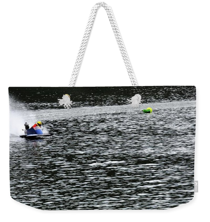 Rogers Weekender Tote Bag featuring the photograph Turn Two 24415 by Jerry Sodorff