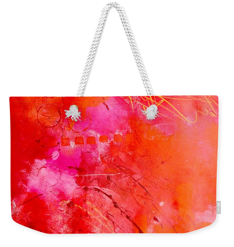 Abstract Weekender Tote Bag featuring the painting Turn Up The Heat by Nancy Merkle