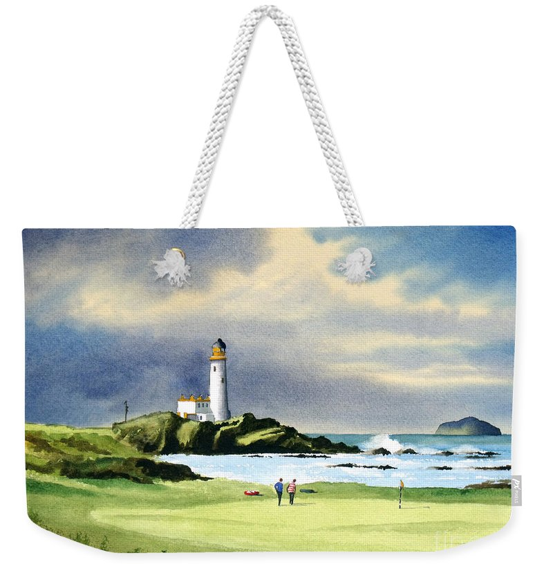 Turnberry Golf Course Weekender Tote Bag featuring the painting Turnberry Golf Course Scotland 10th Green by Bill Holkham