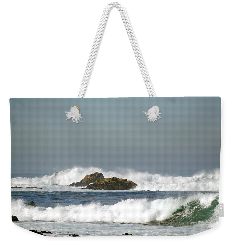 Turquoise Waves Monterey Bay Coastline Weekender Tote Bag featuring the digital art Turquoise Waves Monterey Bay Coastline by Barbara Snyder