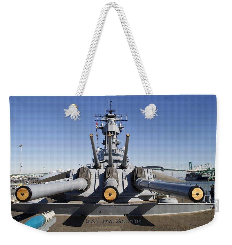 Turrets 1 And 2 Uss Iowa Battleship Shell Weekender Tote Bag