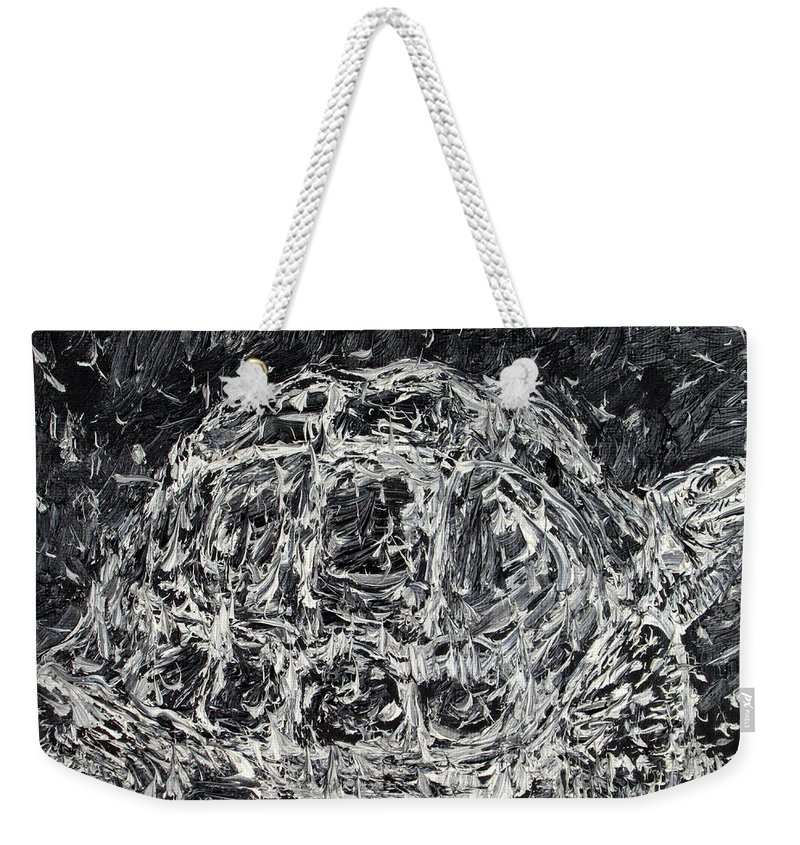 Turtle Weekender Tote Bag featuring the painting Turtle - Oil Portrait by Fabrizio Cassetta