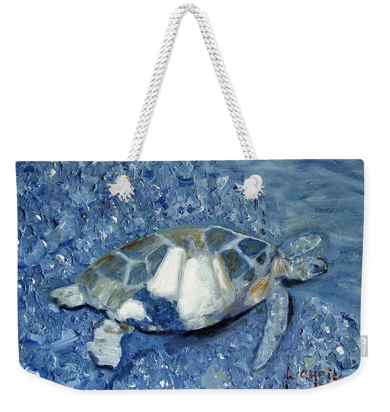 Turtle Weekender Tote Bag featuring the painting Turtle On Black Sand Beach by Laurie Morgan