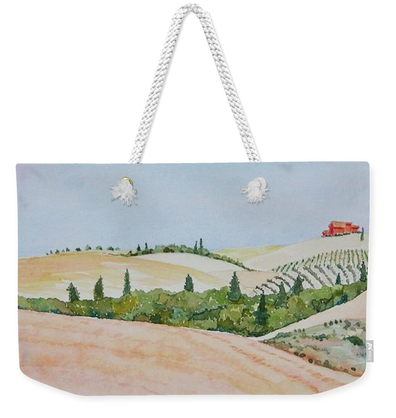 Landscape Weekender Tote Bag featuring the painting Tuscan Hillside One by Mary Ellen Mueller Legault