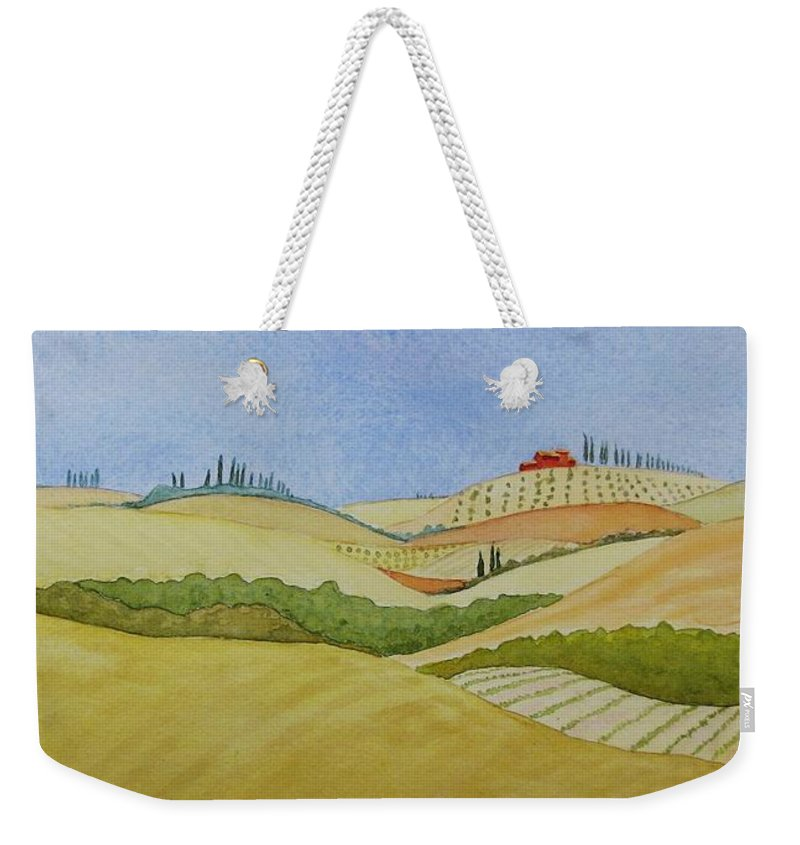 Italy Weekender Tote Bag featuring the painting Tuscan Hillside Two by Mary Ellen Mueller Legault