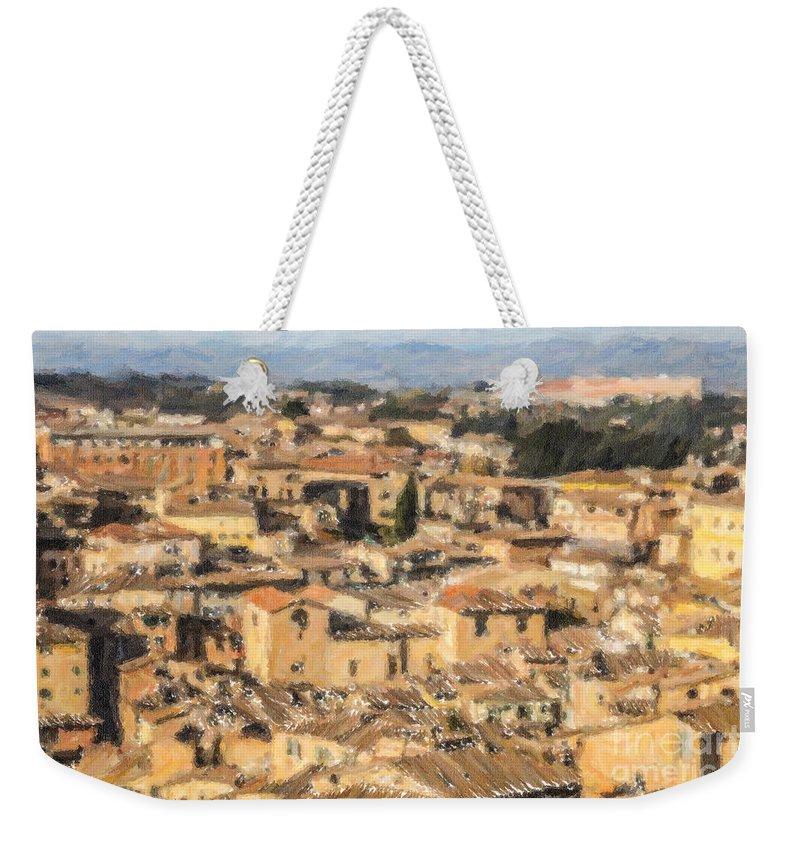 Siena Weekender Tote Bag featuring the digital art Tuscan Rooftops Siena by Liz Leyden