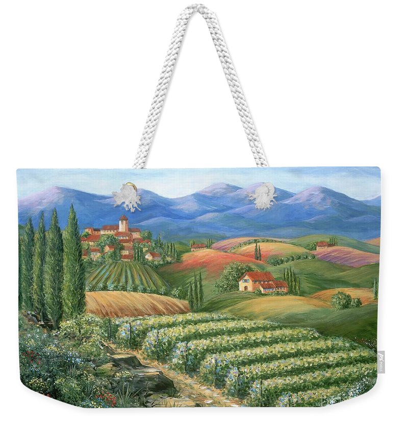Wine Weekender Tote Bag featuring the painting Tuscan Vineyard And Village by Marilyn Dunlap