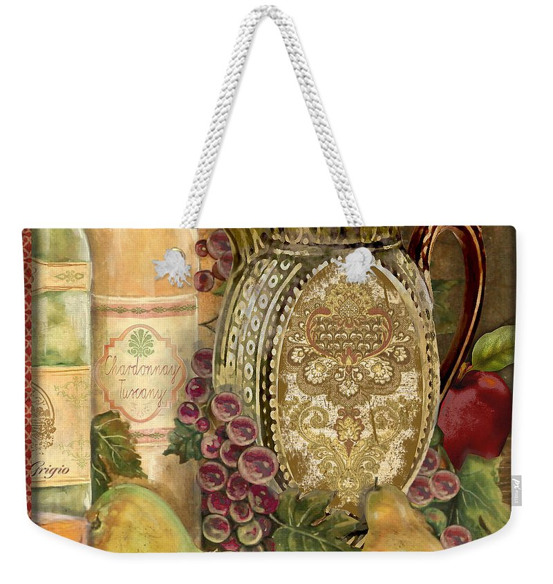 Original Weekender Tote Bag featuring the painting Tuscan Wine-d by Jean Plout