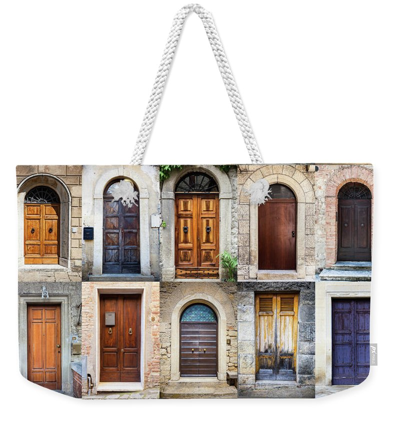 Arch Weekender Tote Bag featuring the photograph Tuscan Wooden Doors, Italy by Moreiso