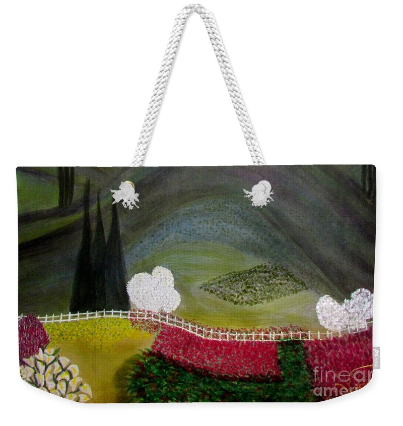 Landscape Weekender Tote Bag featuring the painting Tuscany Garden by Veronica V Jackson
