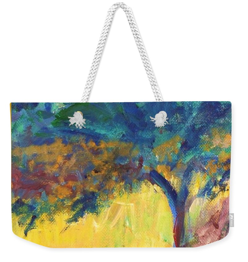 Tuscany Weekender Tote Bag featuring the painting Tuscany Hill Side Shadows by Eric Schiabor