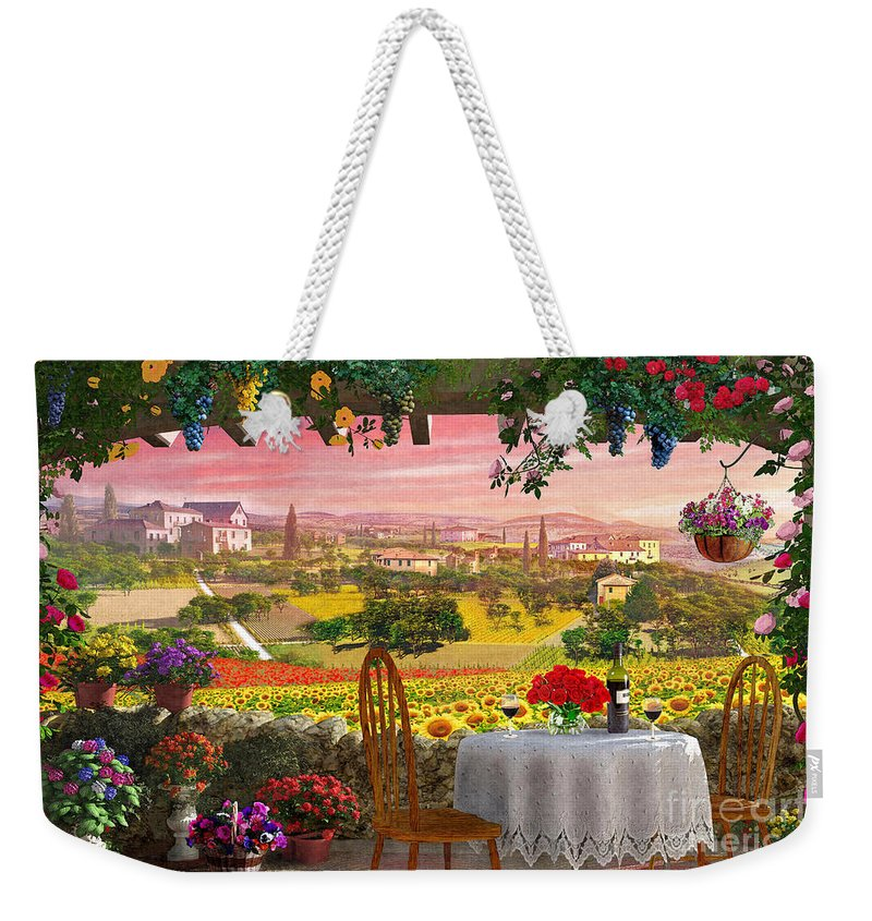 Italy Weekender Tote Bag featuring the digital art Tuscany Hills by MGL Meiklejohn Graphics Licensing