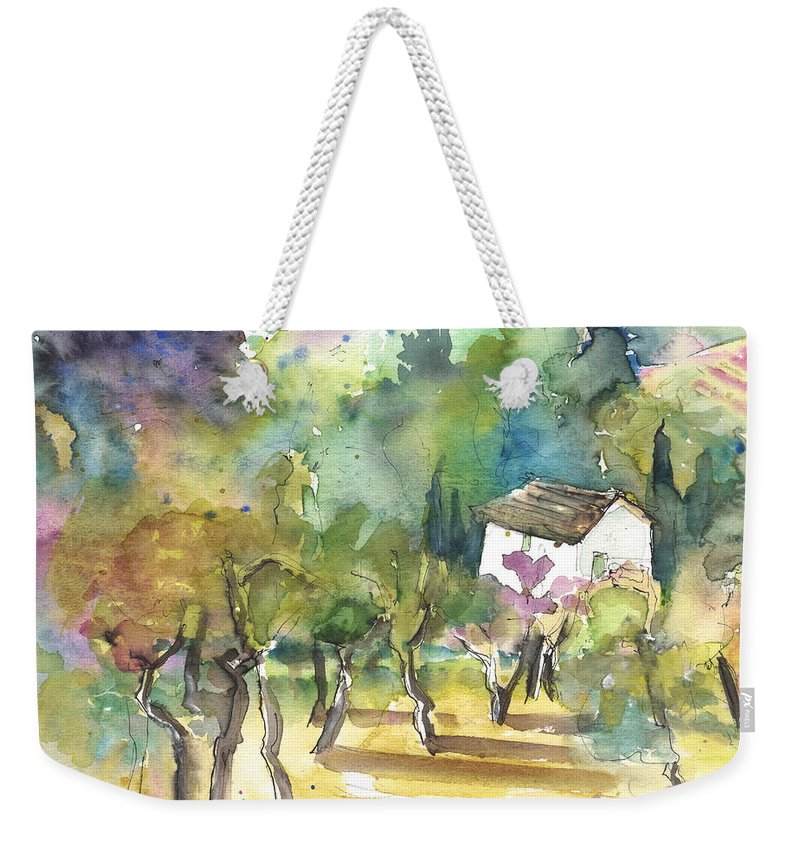 Italy Weekender Tote Bag featuring the painting Tuscany Landscape 05 by Miki De Goodaboom