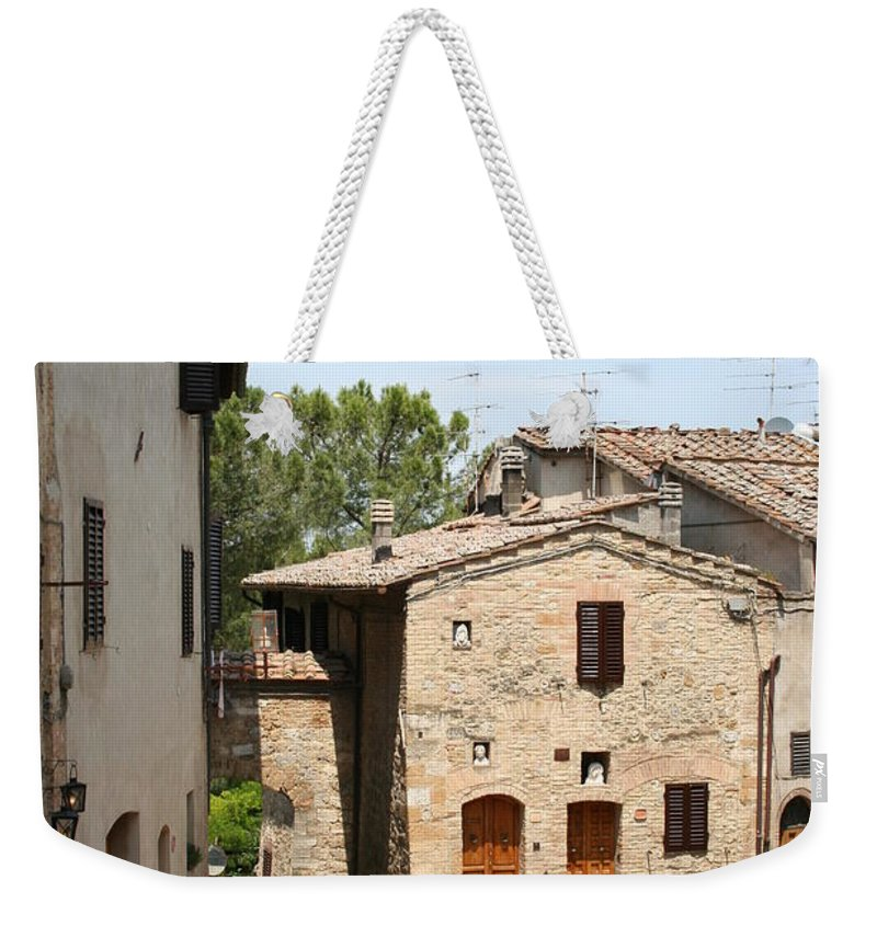 House Weekender Tote Bag featuring the photograph Tuscany Street by Christiane Schulze Art And Photography
