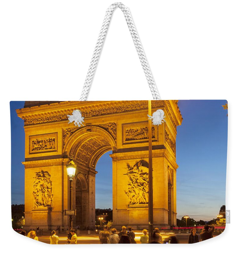 Arc Weekender Tote Bag featuring the photograph Twilight At Arc De Triomphe by Brian Jannsen