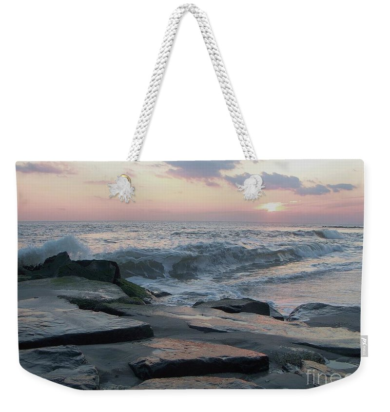 Twilight Weekender Tote Bag featuring the photograph Twilight At Cape May In October by Eric Schiabor