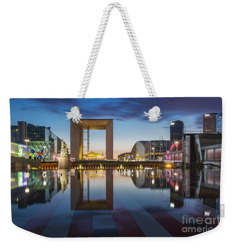 Arch Weekender Tote Bag featuring the photograph Twilight At La Defense by Brian Jannsen