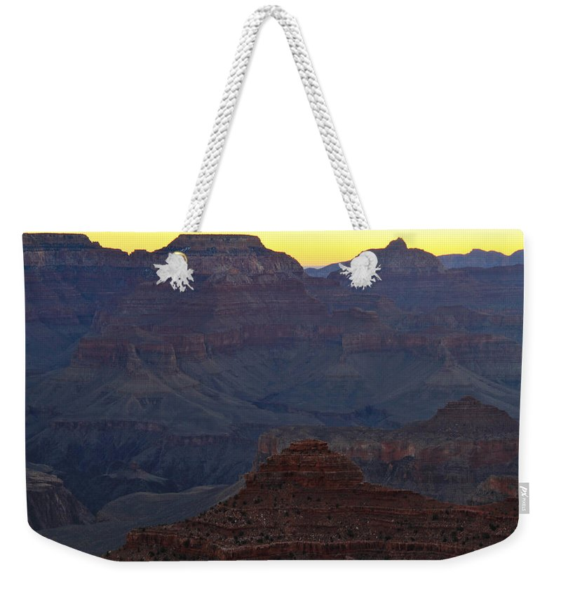 Arizona Weekender Tote Bag featuring the photograph Twilight Mather Point by Ed Riche