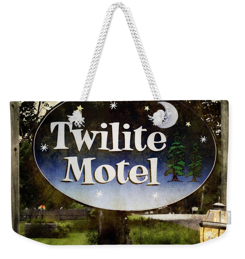 Maine Weekender Tote Bag featuring the photograph Twilight Motel by Joan Carroll