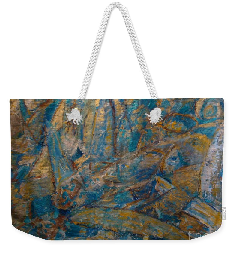 Sea Scape Weekender Tote Bag featuring the painting Twilight Sails by Fereshteh Stoecklein