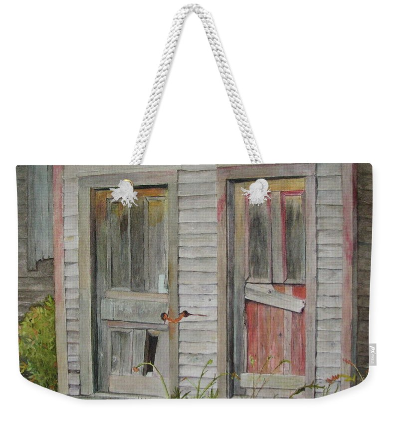 Farm Buildings Weekender Tote Bag featuring the painting Twin Doors In Watercol by Mary Ellen Mueller Legault