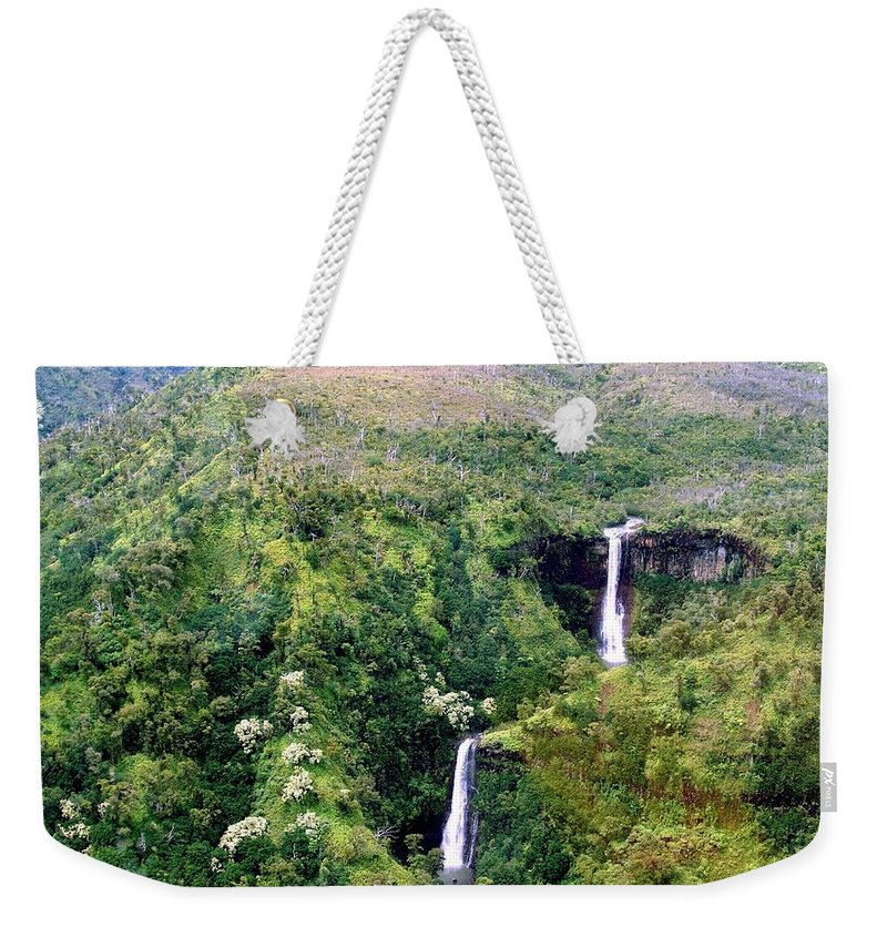Waterfall Weekender Tote Bag featuring the photograph Twin Falls by Eric Swan