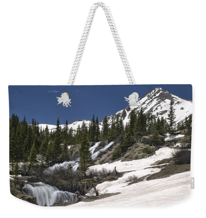 Best Sellers Weekender Tote Bag featuring the photograph Twin Falls by Melany Sarafis
