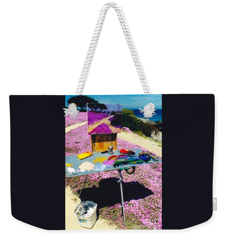 Artist Pallet Weekender Tote Bag featuring the photograph Oceanview Pinks by Phyllis Kaltenbach