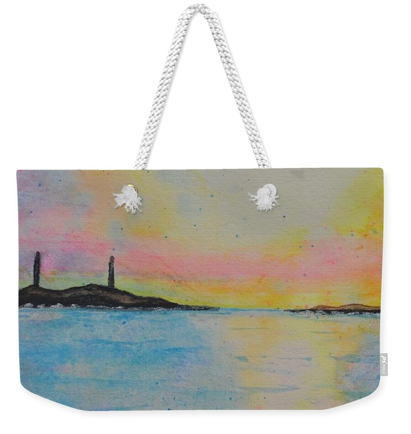 Twins Weekender Tote Bag featuring the painting Twin Lights by Sally Rice