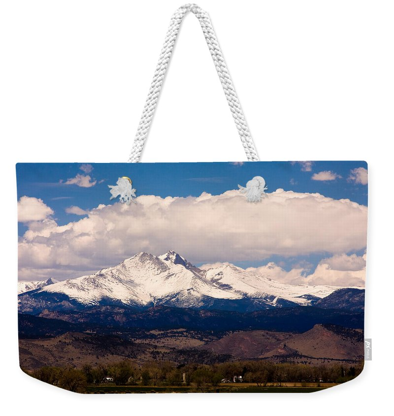 Twin Peeks Weekender Tote Bag featuring the photograph Twin Peaks Snow Covered by James BO Insogna