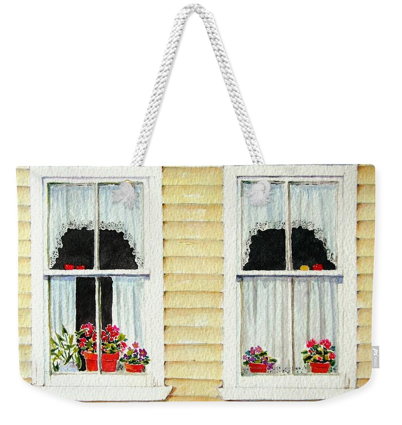 Windows Weekender Tote Bag featuring the painting Twin Peeks by Mary Ellen Mueller Legault
