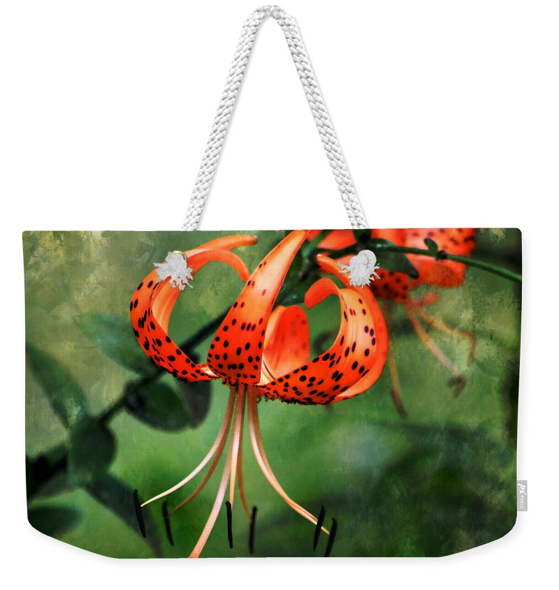 Flower Weekender Tote Bag featuring the photograph Twin Turks by Deena Stoddard