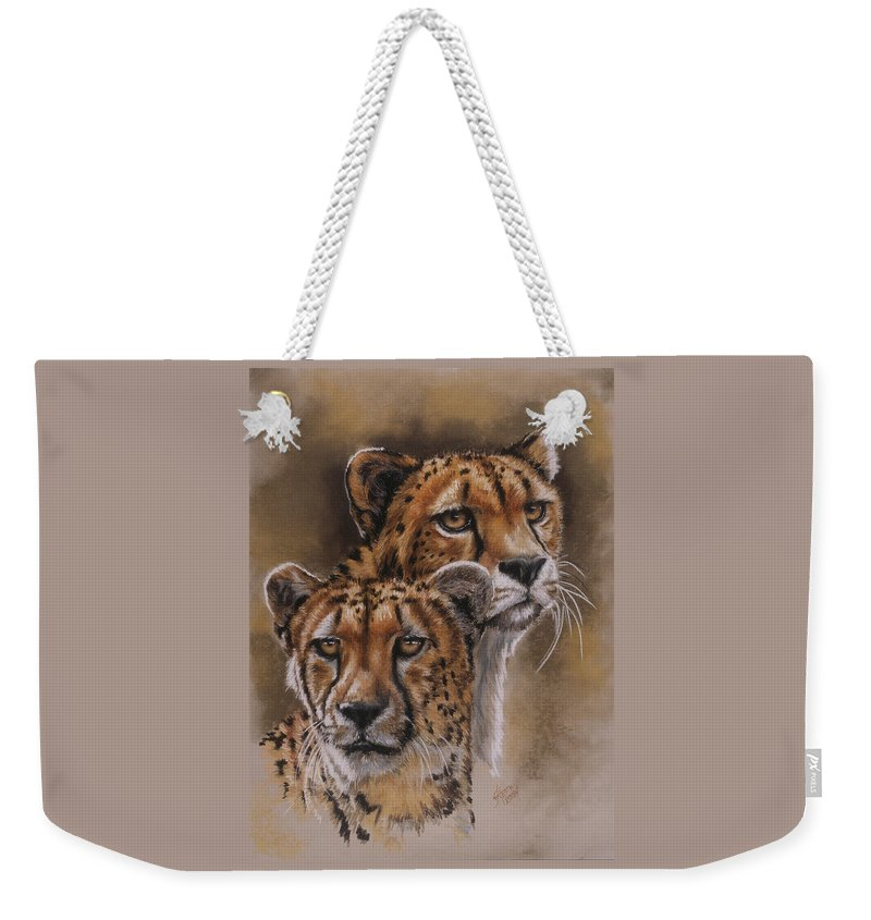 Cheetah Weekender Tote Bag featuring the pastel Twins by Barbara Keith