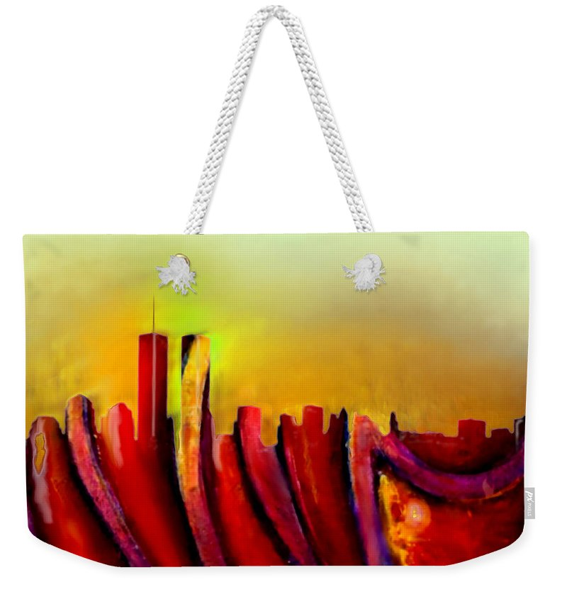 Twin Towers Weekender Tote Bag featuring the painting Twins - Marcello Cicchini by Marcello Cicchini