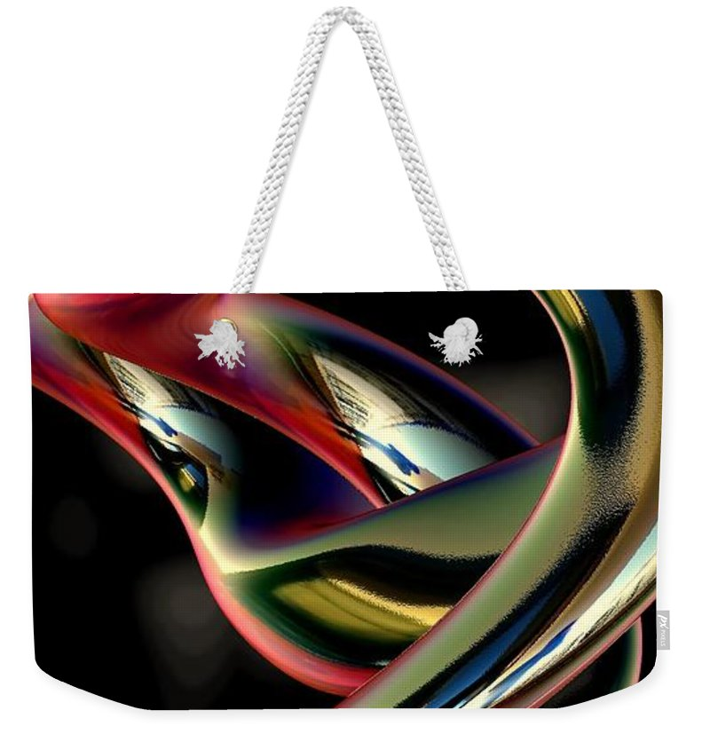 Abstract Weekender Tote Bag featuring the digital art Twisted Abstract 2 by Greg Moores