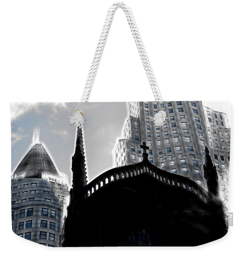 Mark J Dunn Weekender Tote Bag featuring the photograph Twisted City by Mark J Dunn
