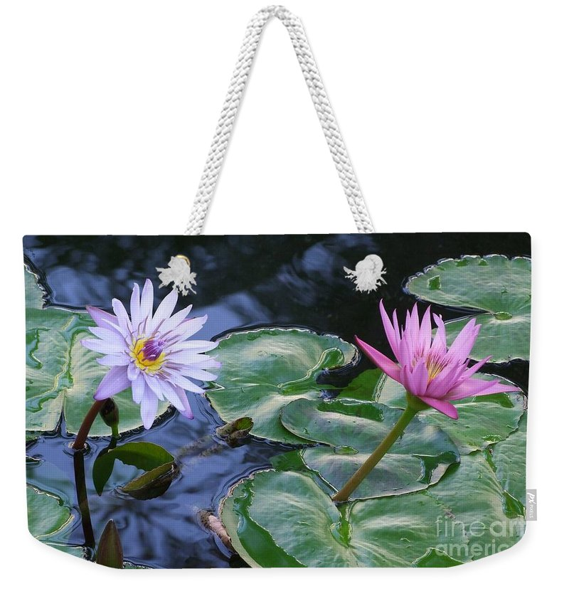 Water Lily Weekender Tote Bag featuring the photograph Two Beauties by Mary Deal