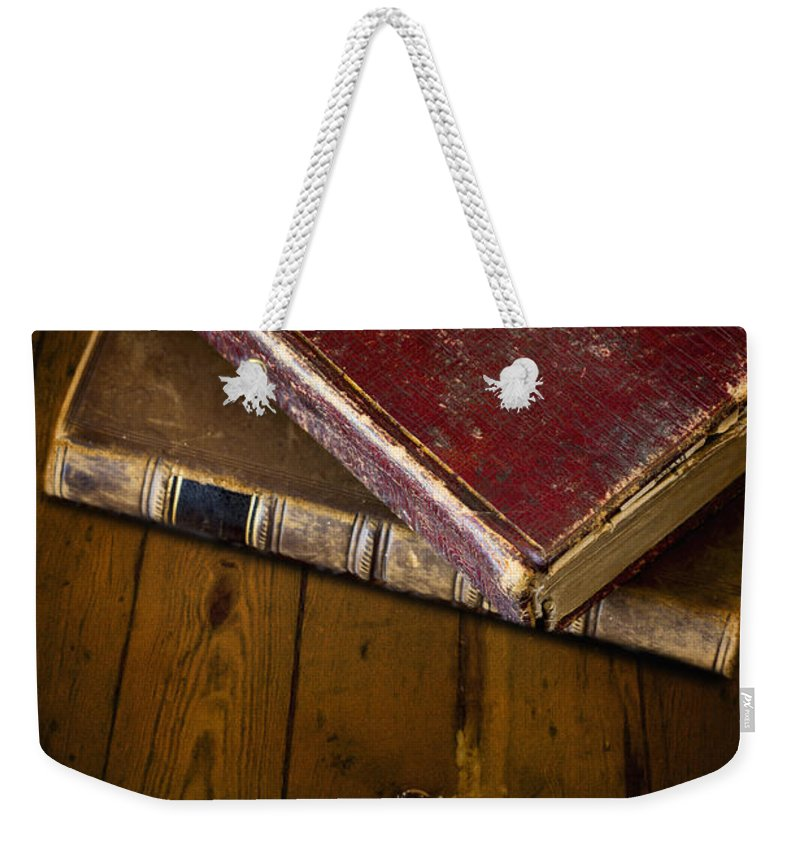Books Weekender Tote Bag featuring the photograph Two Books by Margie Hurwich
