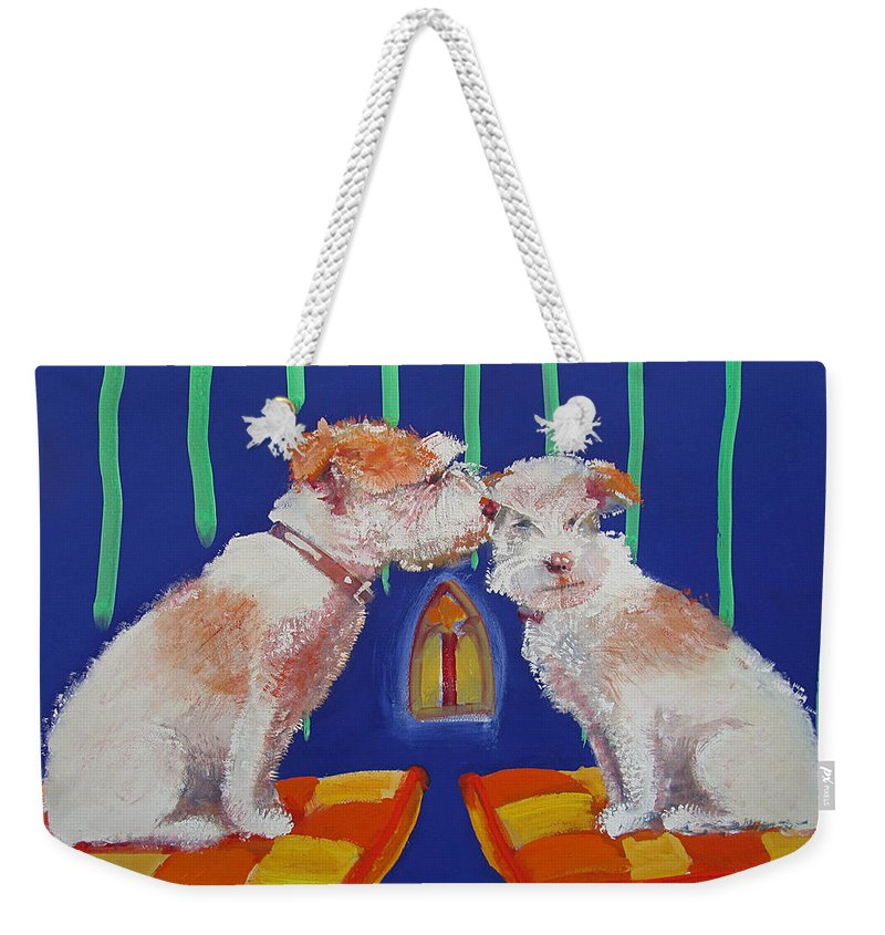Puppy Weekender Tote Bag featuring the painting Two Border Terriers Together by Charles Stuart