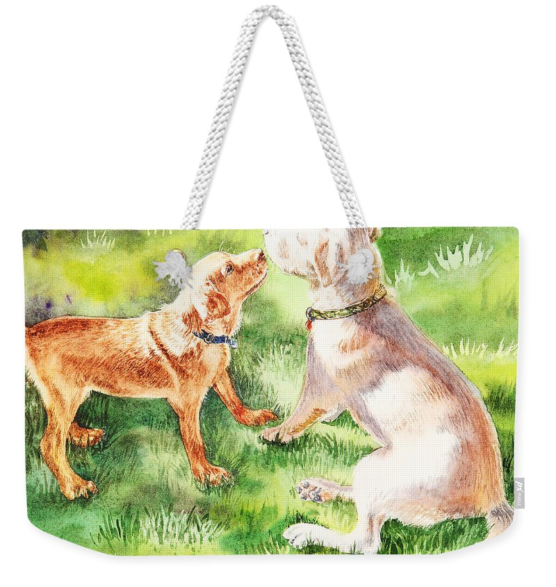 Puppy Weekender Tote Bag featuring the painting Two Brothers Labradors by Irina Sztukowski