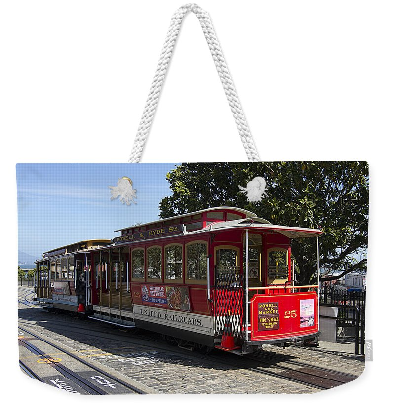 Cable Weekender Tote Bag featuring the photograph Two Cable Cars San Francisco by Peter Lloyd