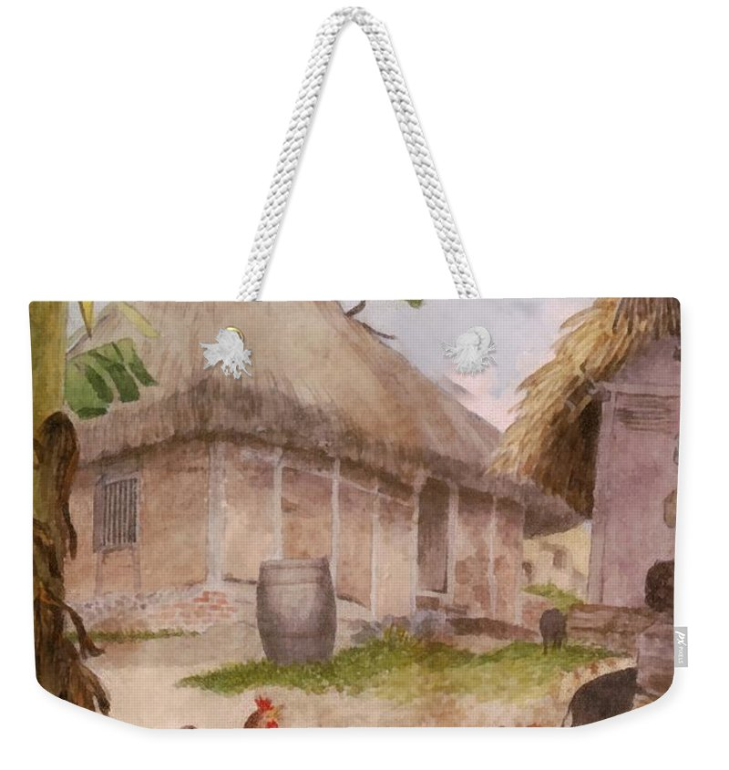 William Berryman Weekender Tote Bag featuring the digital art Two Chickens Two Pigs And Huts Jamaica by William Berryman