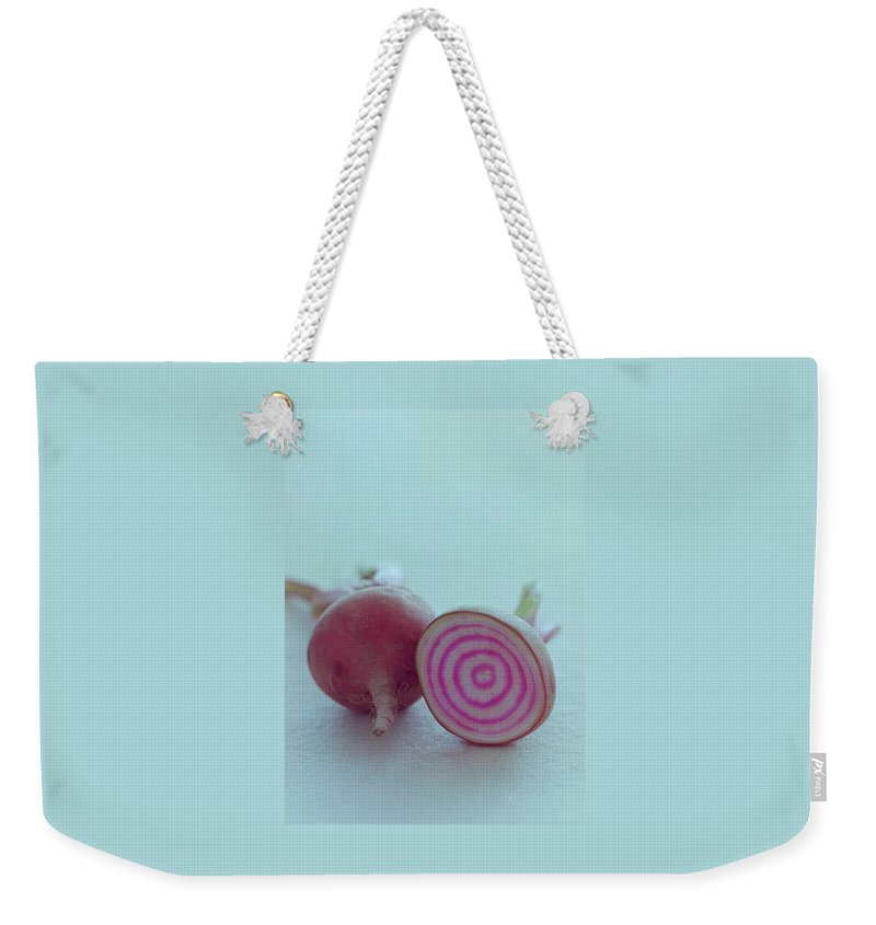 Beet Weekender Tote Bag featuring the photograph Two Chioggia Beets by Romulo Yanes