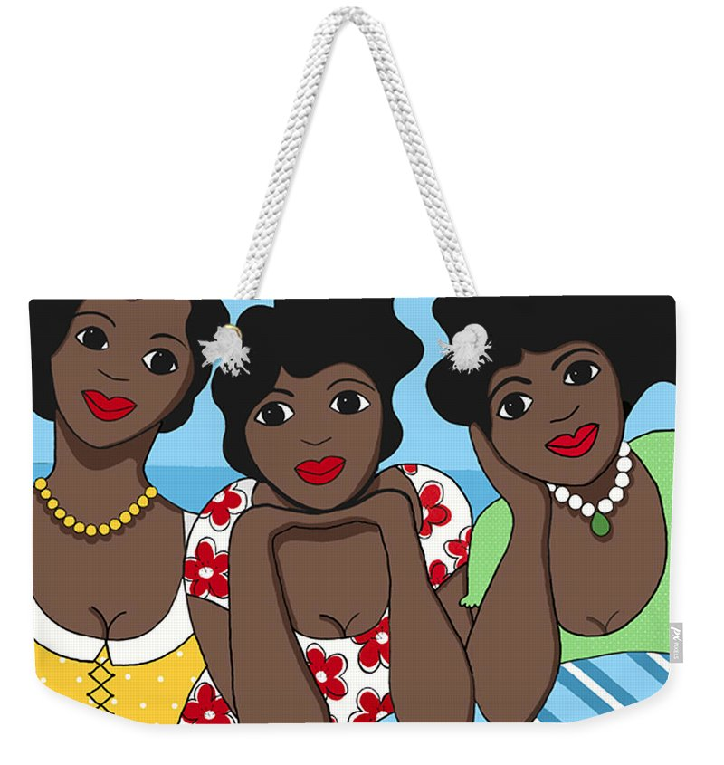 Blue Weekender Tote Bag featuring the painting Two Each by Trudie Canwood
