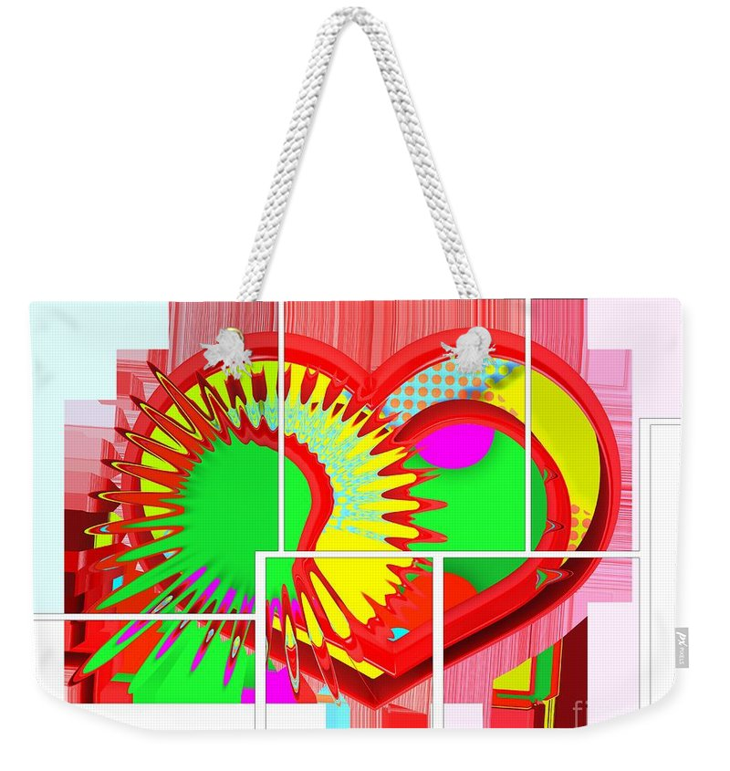 Two Hearts Are Better Than One Weekender Tote Bag featuring the digital art Two Hearts Are Better Than One by Liane Wright