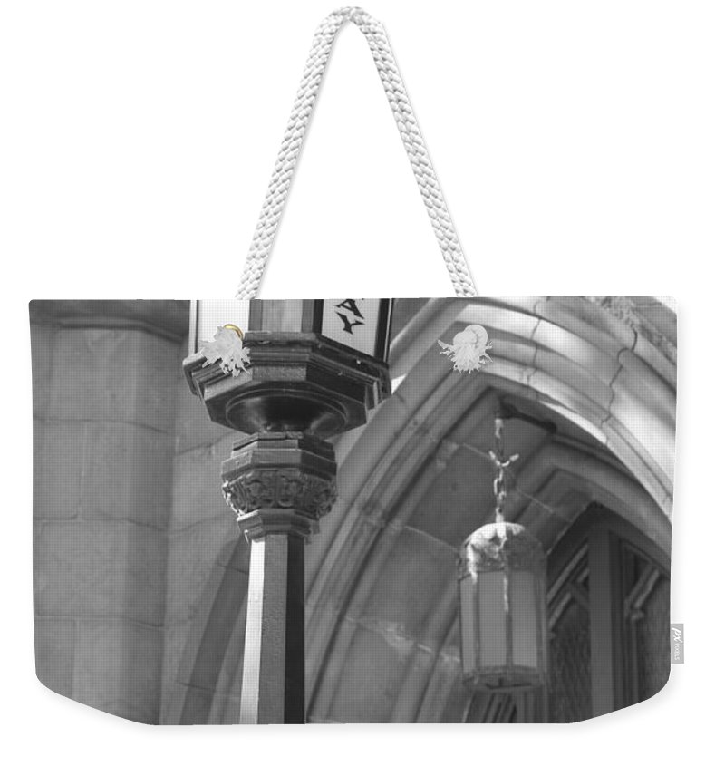 Subway Station Weekender Tote Bag featuring the photograph Two Lights And A Church by Catie Canetti
