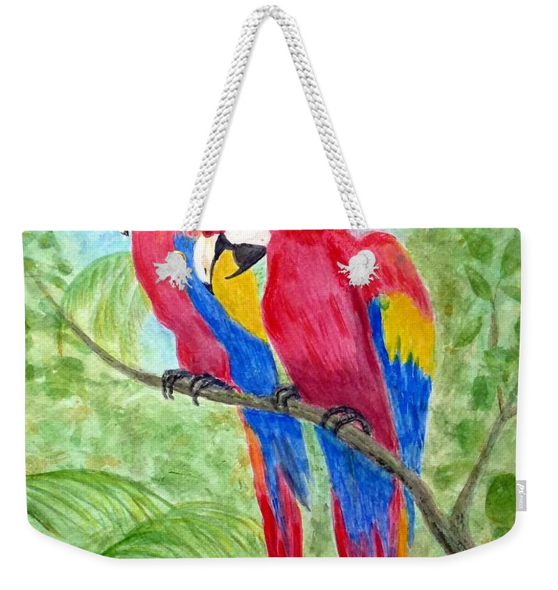 Macaw Weekender Tote Bag featuring the painting Two Macaws by Barbie Corbett-Newmin
